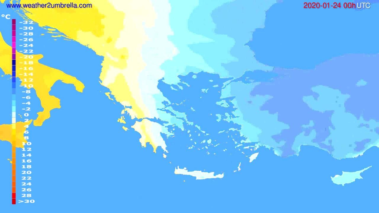 Temperature forecast Greece // modelrun: 00h UTC 2020-01-23