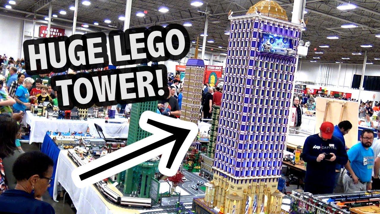 Giant LEGO Tower Hotel with Lights | BrickFair Virginia 2018