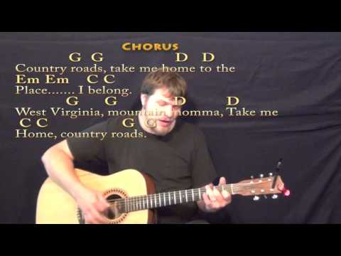 Country Roads John Denver Strum Guitar Cover Lesson In G With