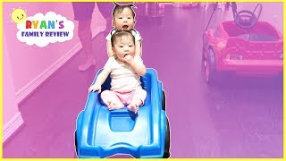 Twin Babies Ride Step2 Roller Coaster and Mcqueen Power Wheel around the house!