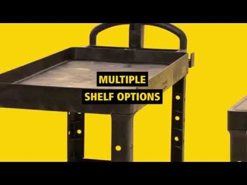 Product video for The Rubbermaid Commercial Heavy-Duty Utility Cart, 2 Shelf, Medium, is a versatile, durable cart that can transport up to 500 lbs.