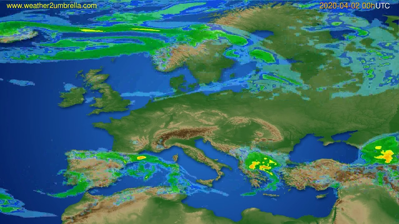 Radar forecast Europe // modelrun: 12h UTC 2020-04-01
