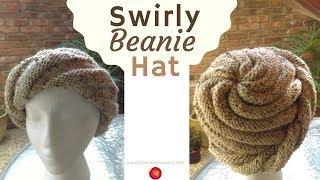 Swirly Beanie Hat - Spiral Knit Hat Pattern - Swirl Knitted Cap Hat