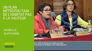 Plan Métropolitain de l'Habitat : Mireille Alphonse CM 03/10/2018