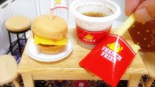 Miniature Food#53 Hamburger & French Fries Coke - Candy Cooking
