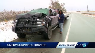 October snow squall slicks central Iowa roads
