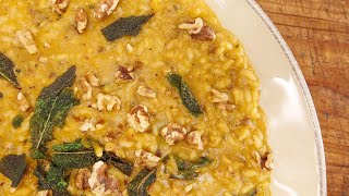 Winter-Spiced Butternut Risotto with Sausage, Sage and Walnuts