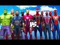 ALL SPIDERMAN SUIT VS THE AVENGERS Hulk Iron Man Captain America Black Widow Thor