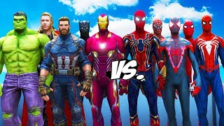 ALL SPIDERMAN SUIT VS THE AVENGERS - Hulk, Iron Man, Captain America, Black Widow, Thor