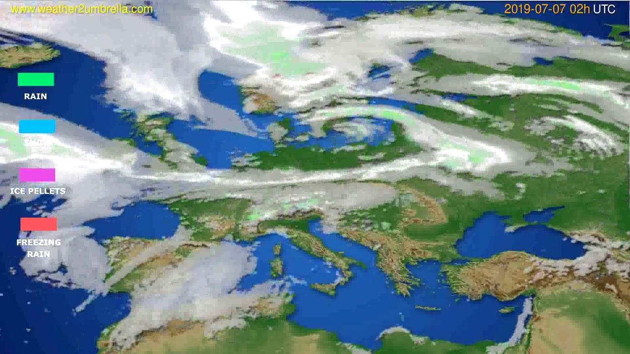 Precipitation forecast Europe // modelrun: 00h UTC 2019-07-05