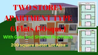 TWO STOREY APARTMENT TYPE HOUSE FLOOR PLAN 15x11.5m. | 6 FLATS SIMPLE DESIGN