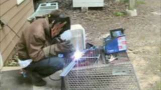 Welding with a Campbell Hausfeld 70 A. stick welder