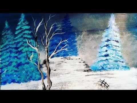 Snowy Christmas  TREE Acrylic painting on canvas for beginners step by step №16