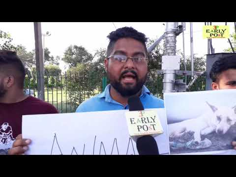 Animal right campaign cum protest at Gandhi nagar gole market