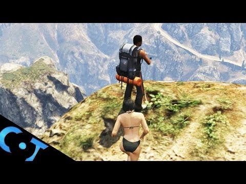 GTA 5 Online: Pushing Hikers Off Big Cliff