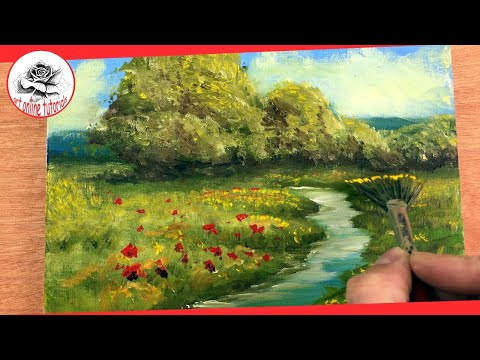 Oil Painting Free Lesson - How to Paint a Landscape with Oils for Beginners Step by Step