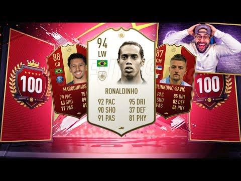 OMG I PACKED RONALDINHO & TOP 100 REWARDS! FIFA 19 Ultimate Team RTG