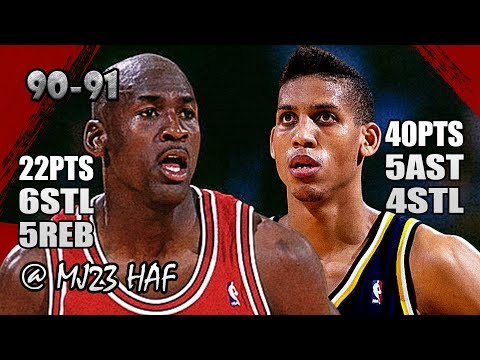 Michael Jordan vs Reggie Miller Highlights vs Pacers (1991.03.02)-62pts All,Miller Kicking MJ's ASS!