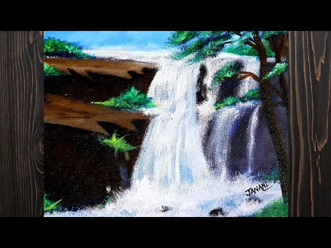 How to draw a painting easily   Nature water fall painting   Learn painting