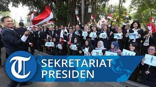 Pegawai Kantor Sekretariat Presiden Nyanyikan Cendol Dawet Melepas Jokowi Tinggalkan Istana