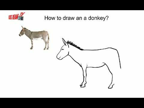 How To Draw A Donkey In Easy Steps For Children Kids Beginners