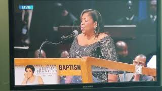 Alice McAllister-Tillman sings the Ava Maria at Aretha Franklin's funeral in Detroit