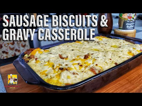 Sausage Biscuit and Gravy Casserole | BreakfastwithAB