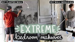 EXTREME BEDROOM MAKEOVER (From Start To Finish) - DIY Wall Moulding + Plaster Paint (Part 1)
