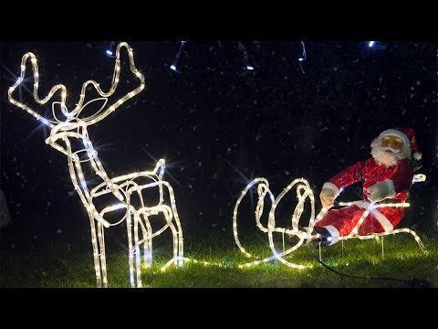 Rentier mit Schlitten und Santa-Figur | LED Weihnachtsdekoration