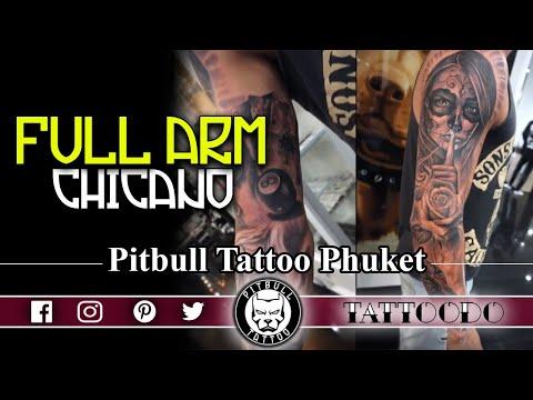 BEST TATTOO STUDIO PHUKET | FULL ARM SLEEVE CHICANO STYLE | PITBULL TATTOO | PATONG | THAILAND
