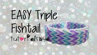 {OLD VIDEO} EASY VERSION (ADVANCED LEVEL) Triple Fishtail Rainbow Loom Bracelet Tutorial