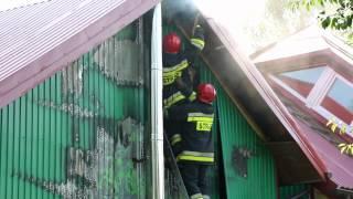 Pożar budynku gospodarczego w Rogach