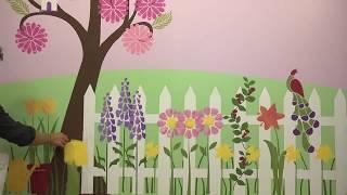 Girls Room Flower Garden Makeover - Wall Stencils