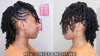 PROTECTIVE HAIRSTYLE FOR NATURAL HAIR GROWTH | MINI TWISTS W/ BRAIDED MOHAWK | Kurly Krissy