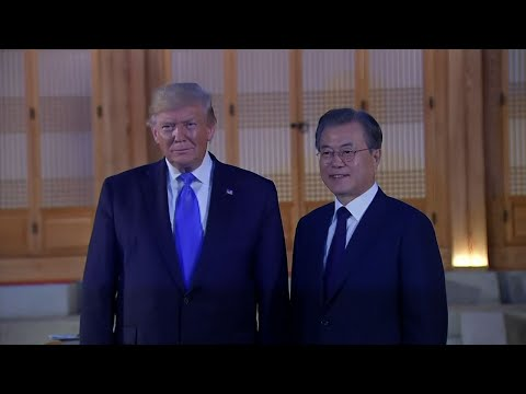 US President Donald Trump was welcomed to South Korea by its president and one of its biggest K-pop boy bands on Saturday. Trump met with President Moon Jae-in at the Blue House, where the South Korean leader has his offices and home. (June 29)