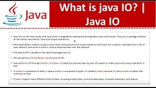 What is java IO?   Java IO   Java Tutorial