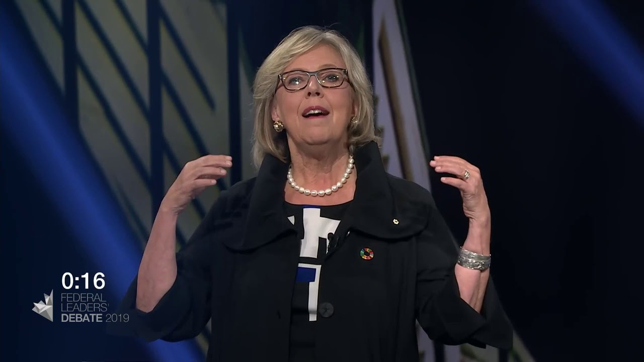 Elizabeth May answers a question about working with the provinces