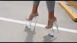 Review Walking In Pleaser Beyond-008 Clear 10 Inch High Heel Platform Shoes