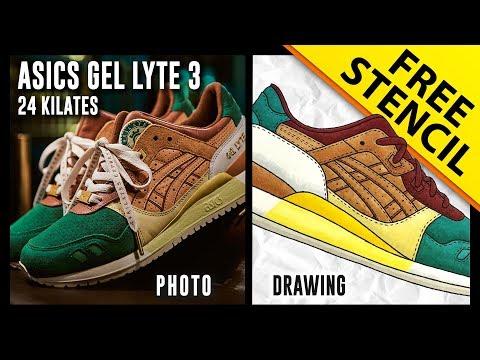 32bf0344d71 Asics Gel Lyte 3 24 Kilates - Sneaker Drawing w  FREE Stencil
