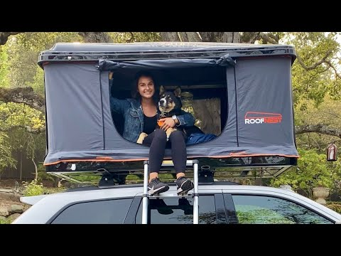 How I got my 60lb Shepherd Husky dog into my roofnest roof top tent by myself