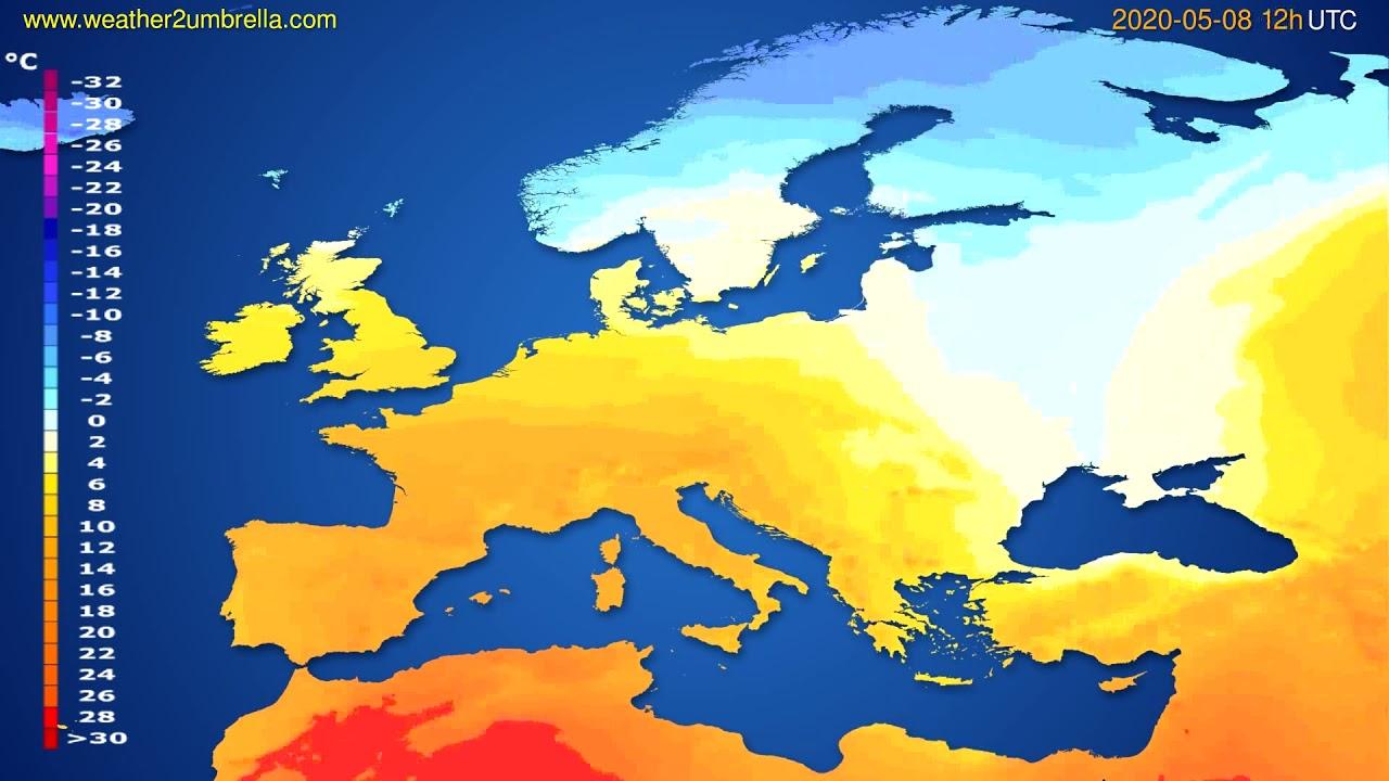 Temperature forecast Europe // modelrun: 00h UTC 2020-05-08