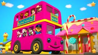 Pink Wheels On The Bus | Kindergarten Nursery Rhymes & Songs For Kids