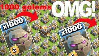 1000 Max Golems Vs Max Eagle Artillery ON  COC PRIVATE SERVER