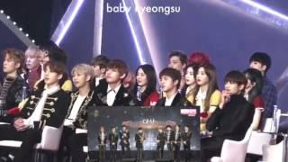 170114 BTS Minhoo Red Velvet reaction to EXO winning Daesang ( Golden Disc Awards 2017 )