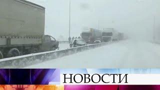 В Ростовской области из-за снегопада закрыто движение на участке трассы М-4.