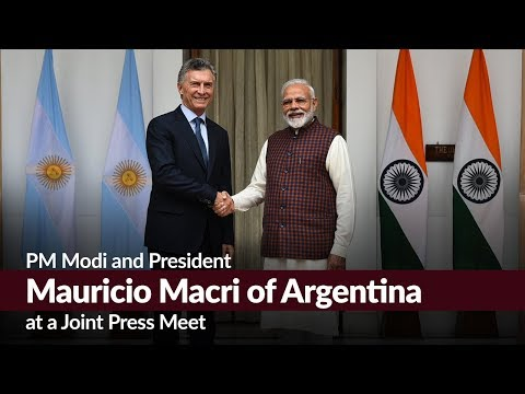 PM Modi and President Mauricio Macri of Argentina at a Joint Press Meet