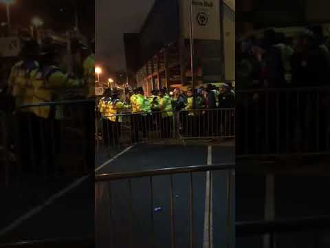 West Midlands Police doing their best to keep Slovan Bratislava fans from leaving Molineux.