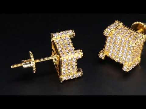 KRKC&CO-Micro Pave Gold Iced Out 3D CZ Mens Earrings