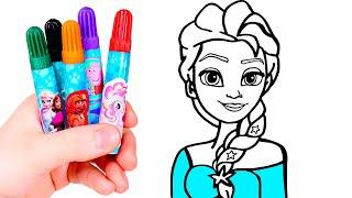 Dibuja Y Colorea A Elsa 👸❄🎨 Dibujos Para Pintar