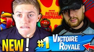 MA PREMIERE VICTOIRE SUR LE NOUVEAU MODE BATAILLE GOURMANDE FORTNITE !!! FT DOC-JAZY